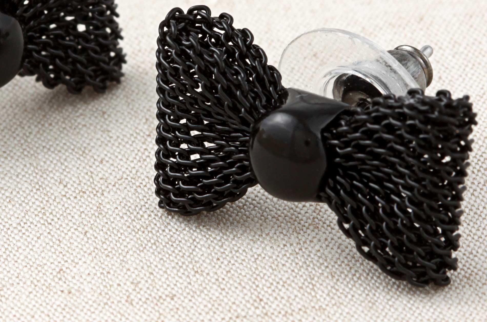 Betsey Johnson Black-plated Mesh Bowtie Stud Earrings - Thumbnail 2