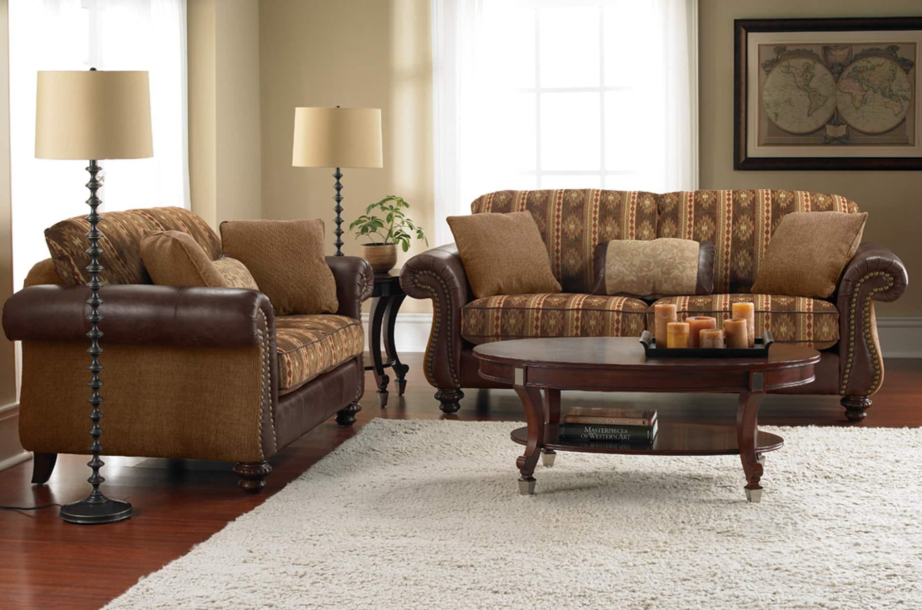 Livingston Leather Fabric Sofa And