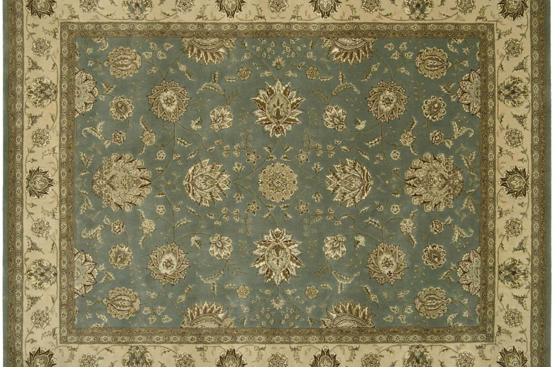 Hand-tufted Blue Wool/ Silk Rug (12' x 15')