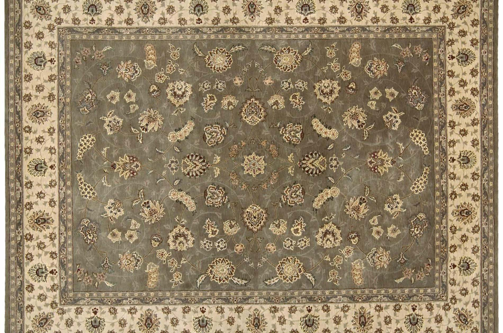 Hand-tufted Green Wool/ Silk Rug (12' x 15')