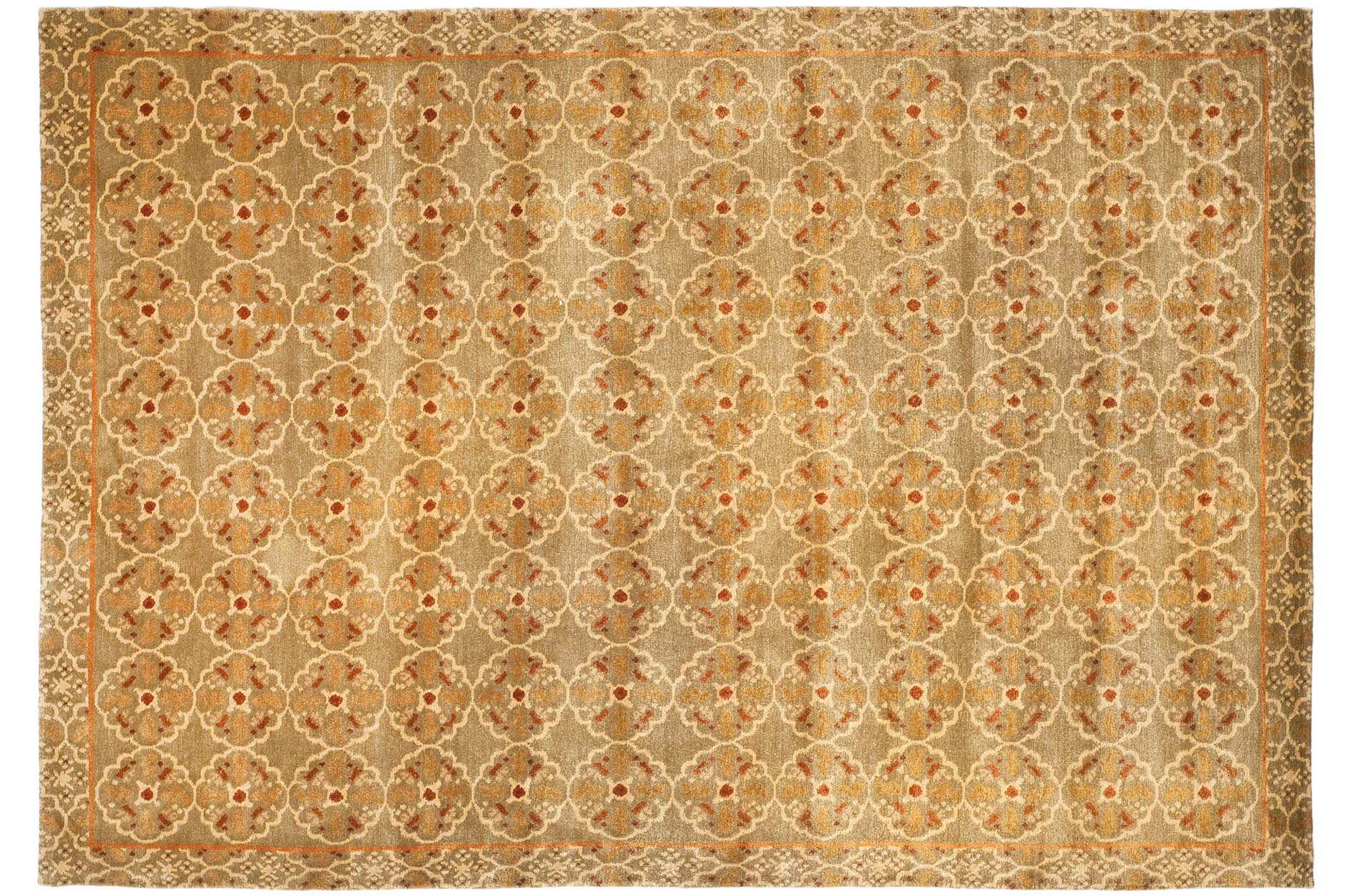 Handmade Thomas O'Brien Caniato Terracotta Wool/ Silk Rug (9' x 12')