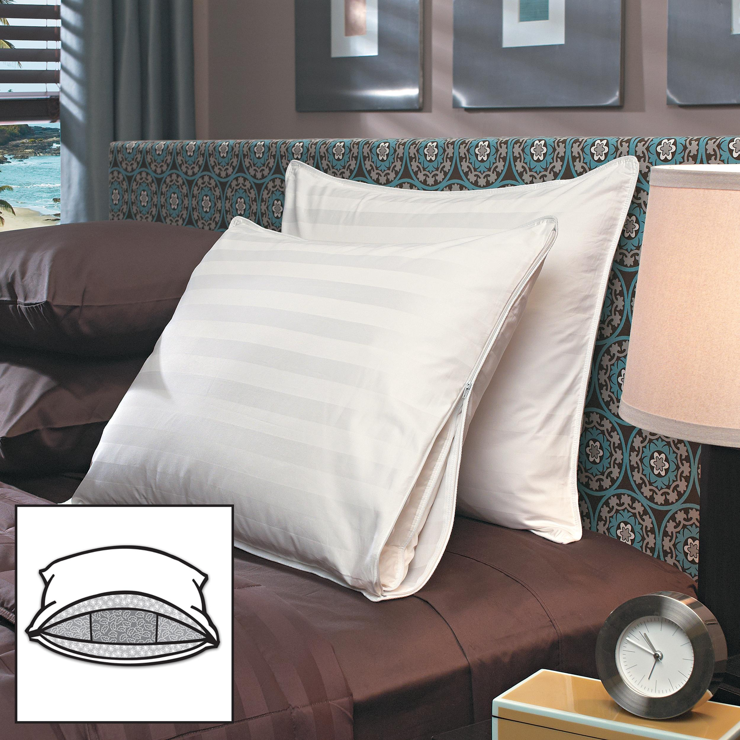 Famous Maker Triple Chamber 600 Fill Power Down Microfeather Pillows with Luxury 500 TC Protective Cover (Set of 2)
