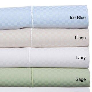 Grandeur Dobby Checks Cotton Blend Sateen Weave 800 Thread Count 6-piece Sheet Set