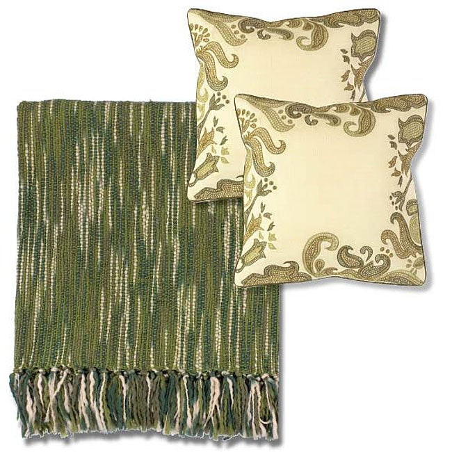 Ivory and Green Machine-Washable Throw Blanket and Decorative Pillows