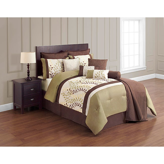 VCNY Green and Chocolate 12-piece Comforter Set - Thumbnail 0