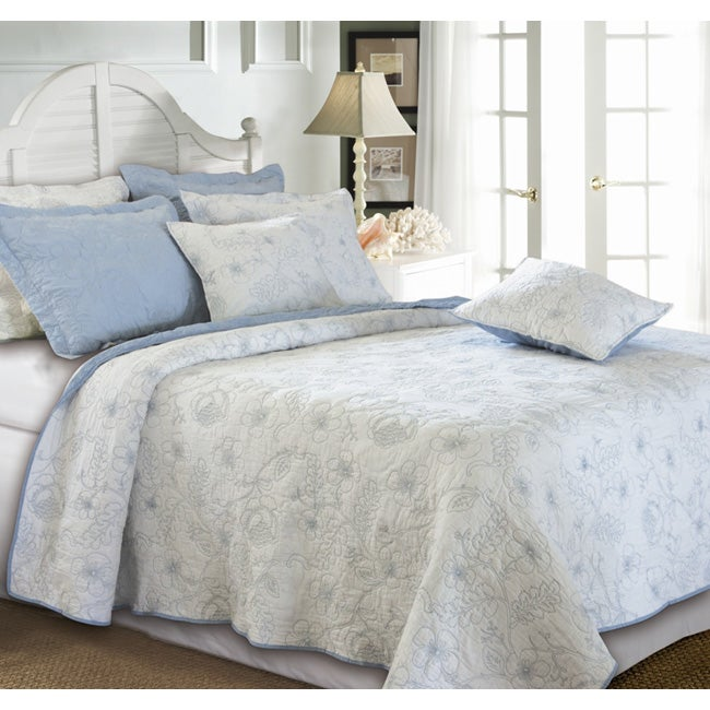 Greenland Home Fashions Hibiscus Winter Sky 3-piece Quilt Set