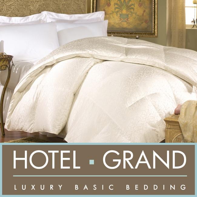 Hotel Grand Silk Jacquard 600 Thread Count White Goose Down Comforter