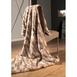 IBENA Natural Tan Mink Faux Fur Oversize Throw - Thumbnail 0