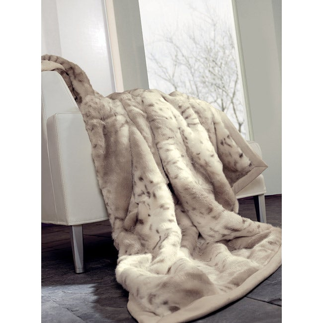 IBENA Snow Leopard Faux Fur Oversize Throw