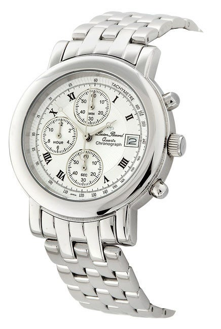 lucien piccard men s chronograph white dial watch shipping lucien piccard men s chronograph white dial watch
