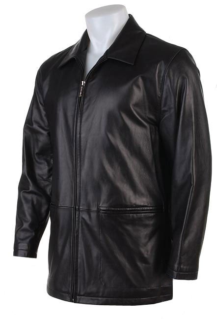 Nicole Miller Men&39s Black Leather Car Coat - Free Shipping Today