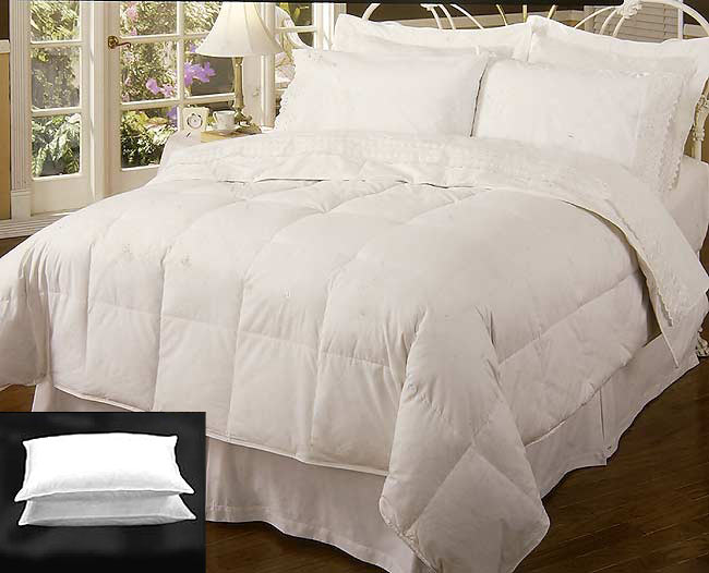 Chalet White Feather and Down Comforter and Pillow Set