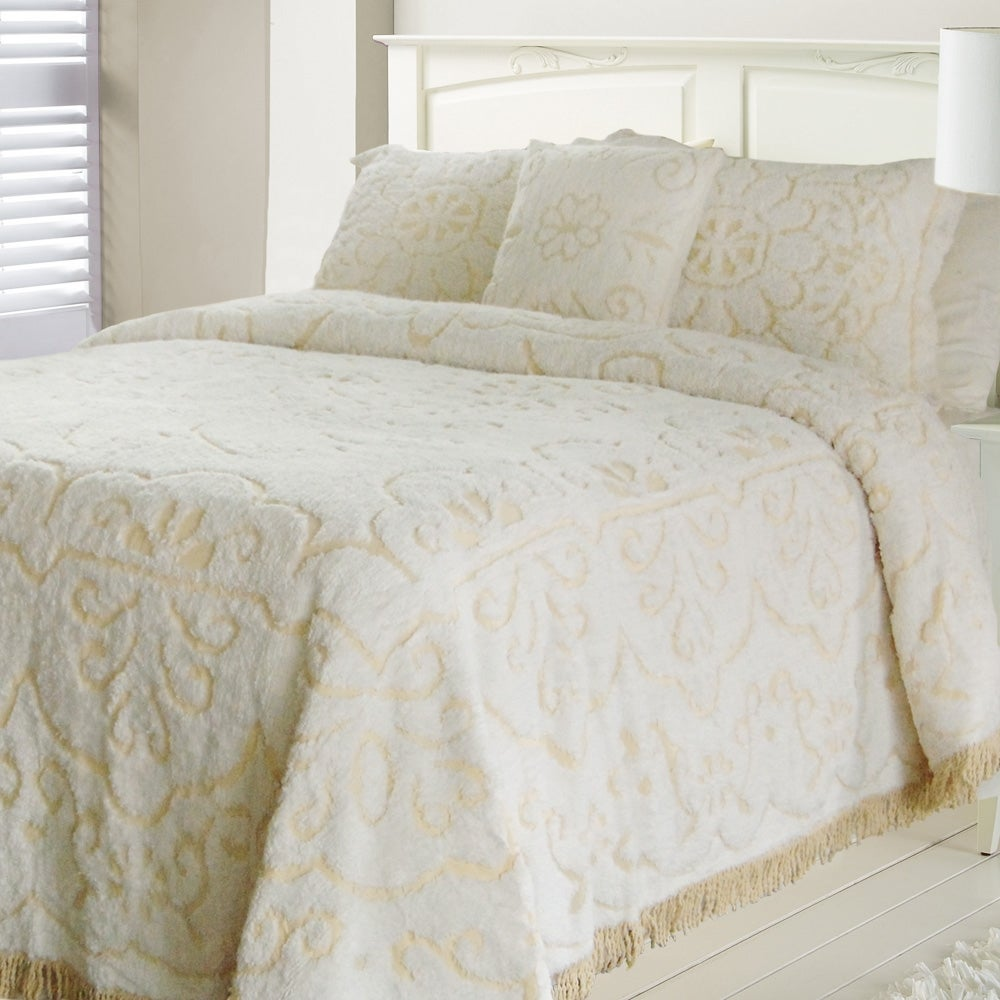 'Jessica' Chenille White/ Linen Twin-size Bedspread