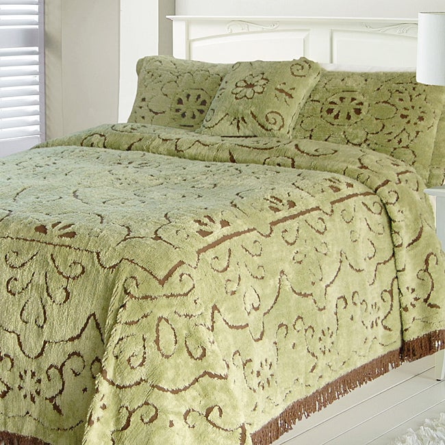 Jessica Mint/ Chocolate Chenille Full-size Bedspread