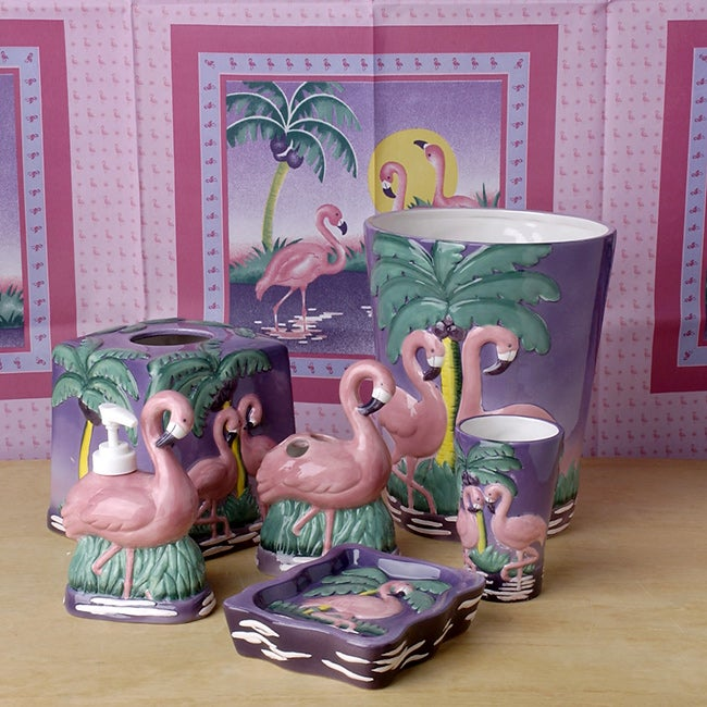 Flamingo Bathroom Accessories Set