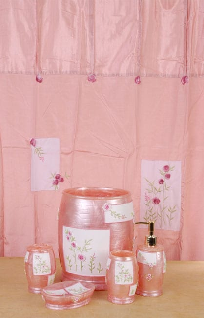 Bridal Rose Pink Bathroom Accessories Set W Shower Curtain