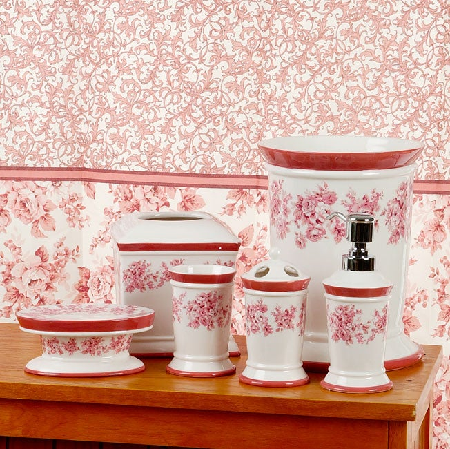 Vintage rose pink bathroom accessories set with shower for Pink bathroom accessories sets