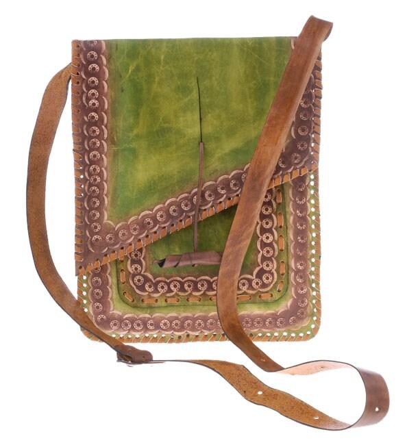 Green Embossed Leather Handbag (Colombia)