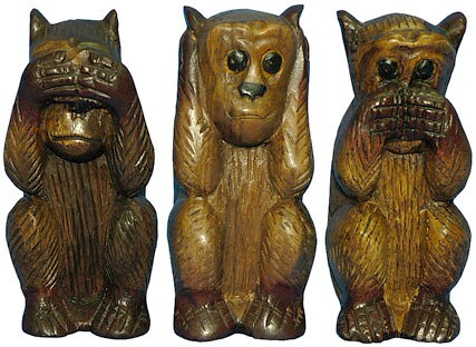 Hear/ Speak/ See No Evil Wooden Monkey Set