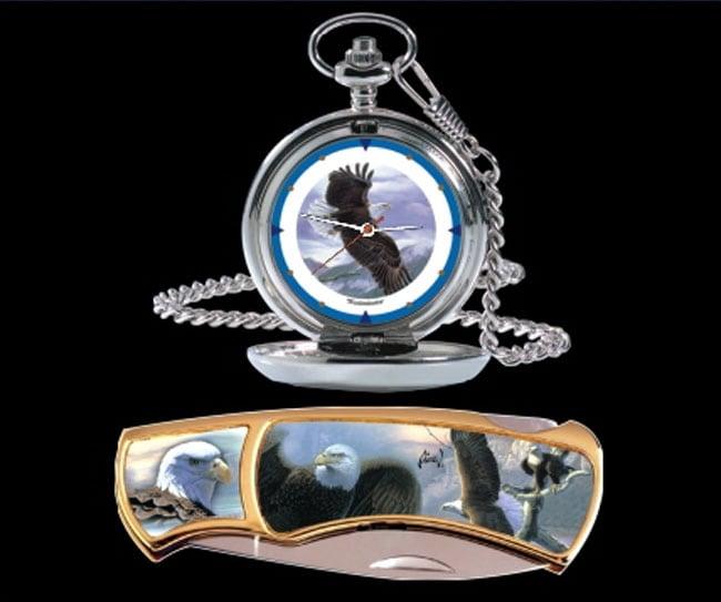 Agnew Eagle Pocket Watch/Knife Combo