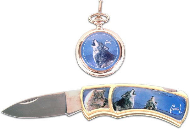 Agnew Howling Wolf Pocket Watch and Knife
