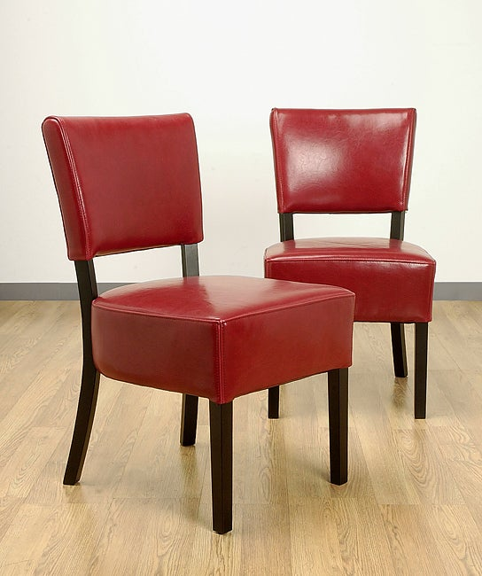 Shop Wasatch Red Leather Dining Chairs Set Of Two