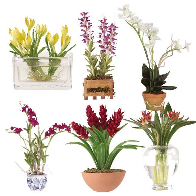Shop Set Of Six Miniature Silk Floral Arrangements Free Shipping