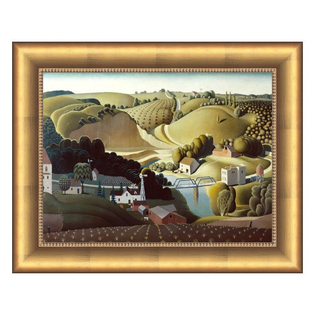 Grant Wood Stone City Framed Canvas