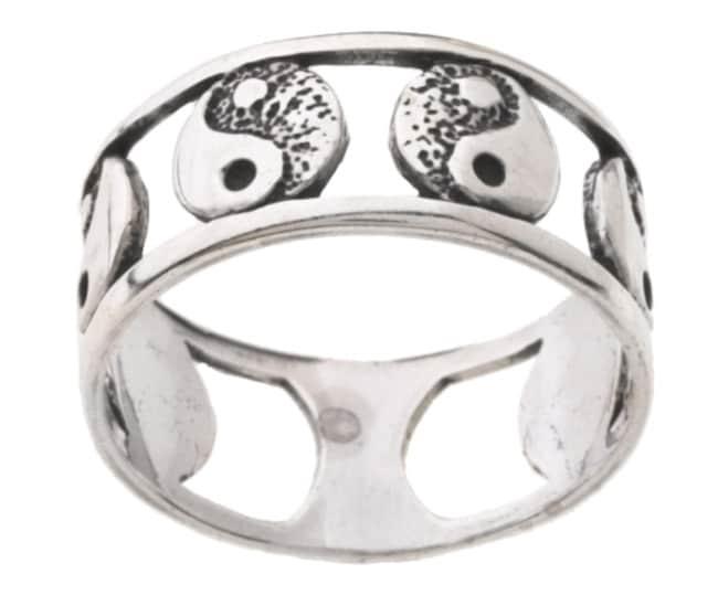 22c0b67f8 Sterling Silver Yin Yang Inlay Circle Ring New Ringe