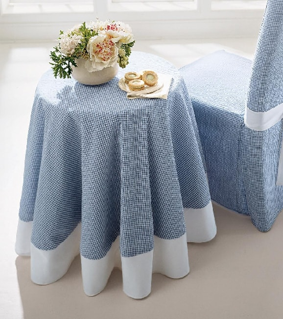 Seersucker Blue 70 Inch Round Tablecloth Free Shipping