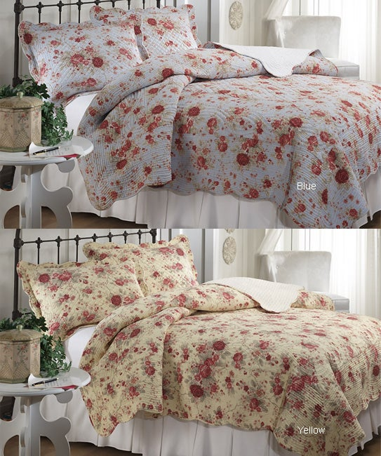 Rose Rhapsody Quilt Set (Yellow or Blue)