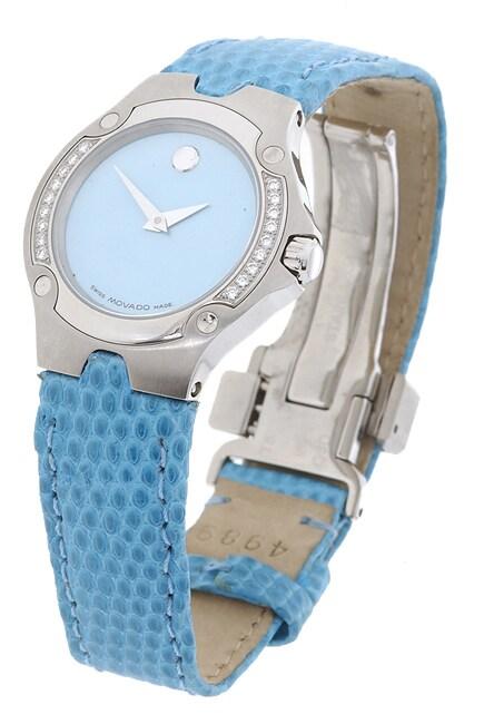 Movado Sports Edition Women's Blue Dial Leather Strap Diamond Watch