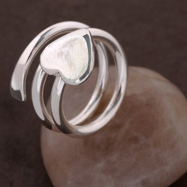 Sterling Silver Spiral Heart Ring (Mexico)