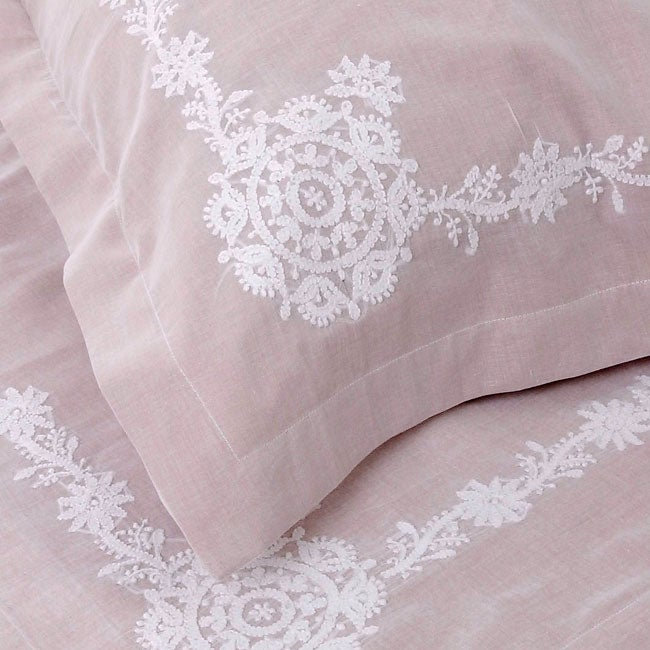 King Floral Hand Embroidered Duvet Cover Set (India)