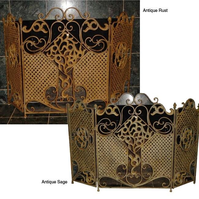 Iron Three-panel Fireplace Screen