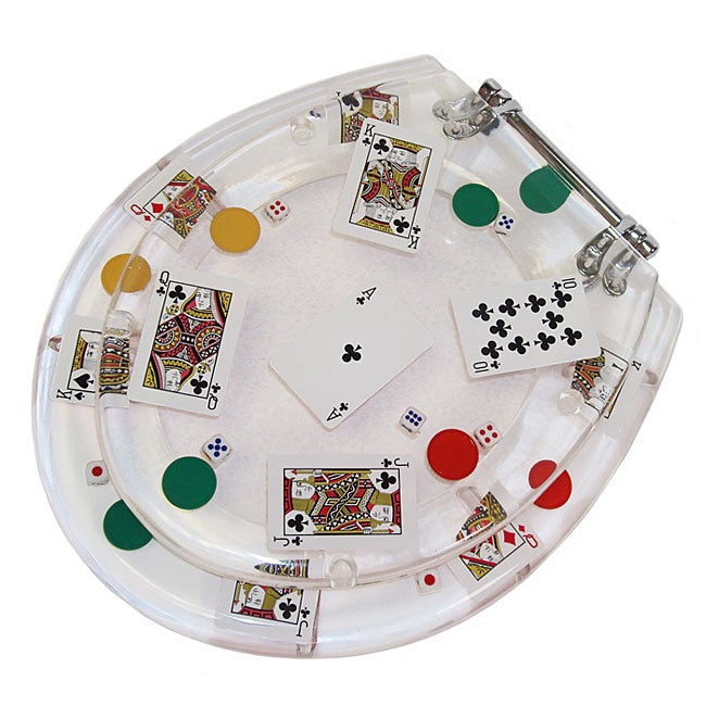 Clear Acrylic Poker Themed Toilet Seat Free Shipping