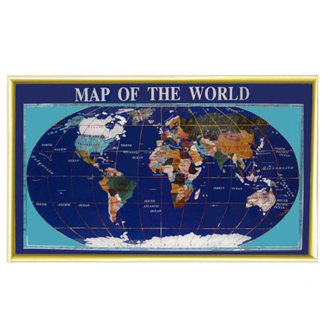 Gemstone World Map.Shop Lapis Gemstone World Map Free Shipping Today Overstock