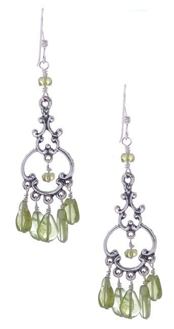 Peridot Chandelier Earrings: Sterling Silver Peridot Chandelier Earrings,Lighting