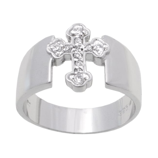 Journee Sterling Silver CZ Cross Ring