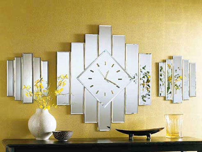 Staggered Beveled Mirror Clock Free Shipping Today