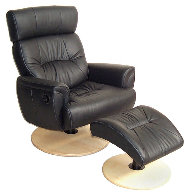 Chairworks Black Leather Recliner With Ottoman Free