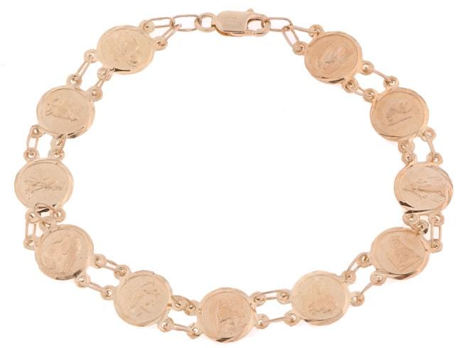 14k Gold Saint Medals Bracelet