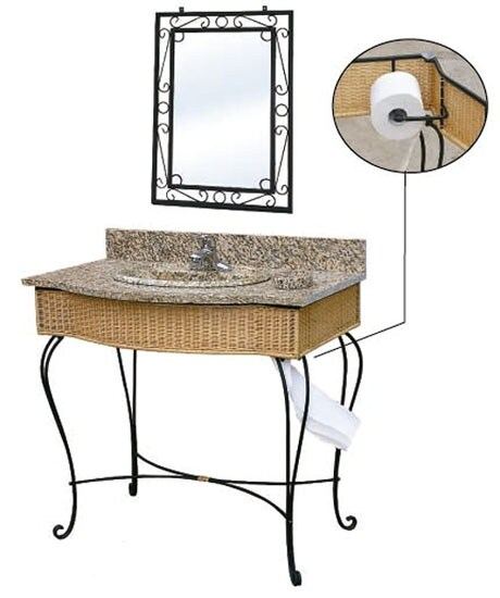 Wrought Iron Vanity fontaine granite wicker wrought iron vanity set - free shipping