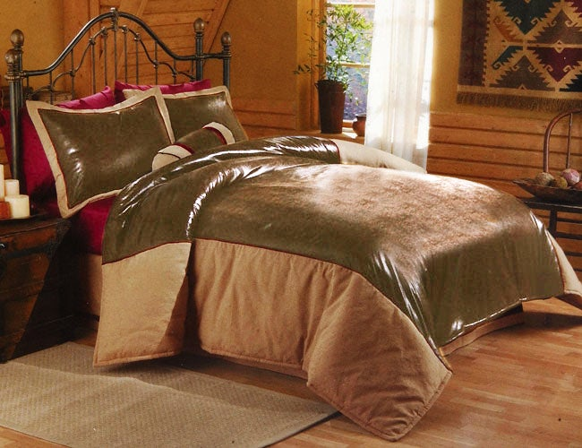 Columbia Faux Suede and Leather Desperado Comforter Set