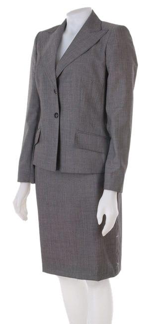 Anne Klein Petite Grey Wool Skirt Suit