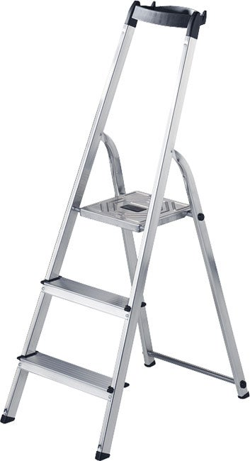 Hailo Aluminum Household 3 Step Ladder With Tray Free