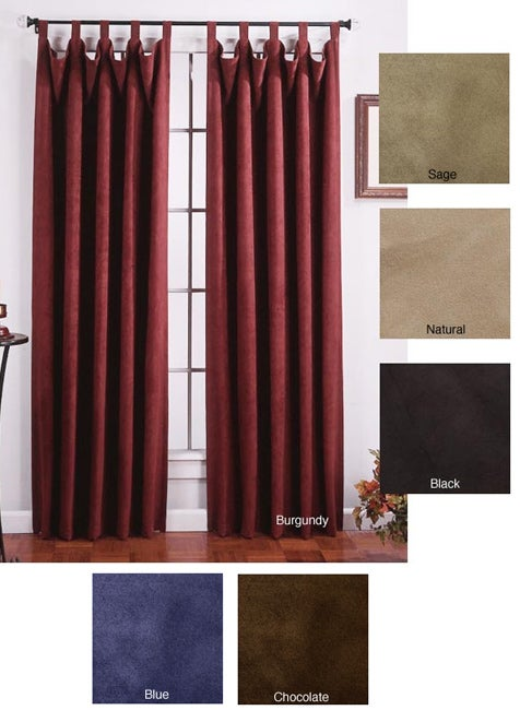 Faux Suede Tab Top Curtain Panel Pair