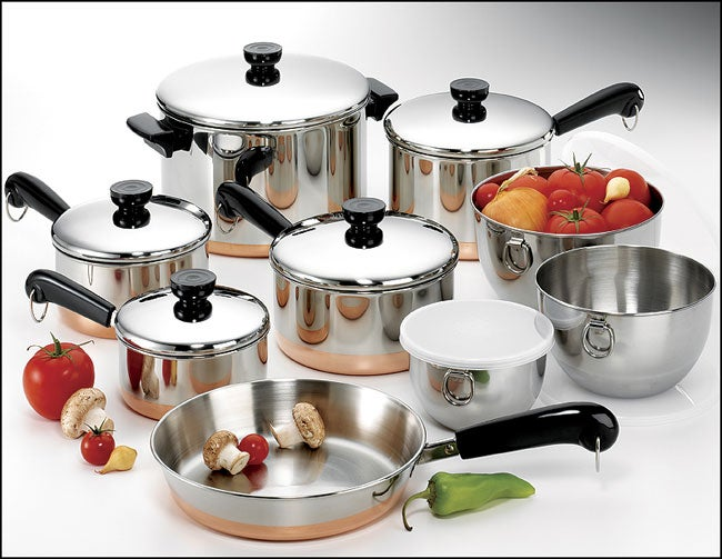 Revere Copper Clad Bottom 14 Piece Pot Set Free Shipping
