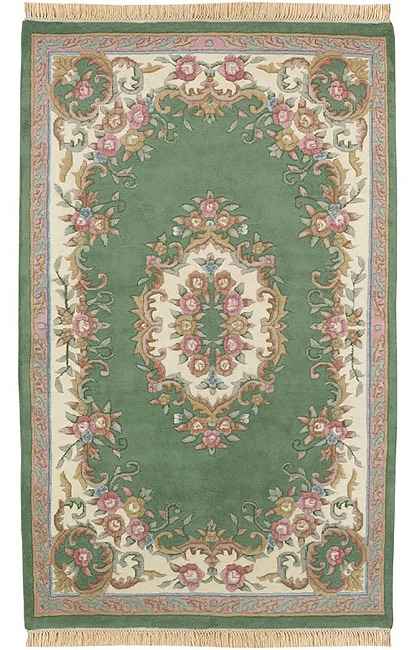Hand Knotted Aubusson Green Wool Rug 3 X 5 Oval Free