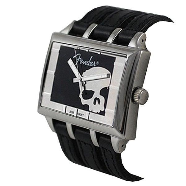 Fender Men's Black Gothic Silver Skull Watch